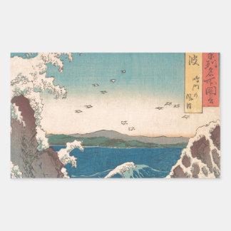 Art. Hiroshige van de Draaikolk van Naruto het Rechthoekige Sticker