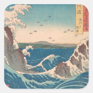 Art. Hiroshige van de Draaikolk van Naruto het Vierkante Sticker