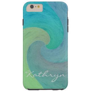 Art. van de Golf van de waterverf het Turkooise Tough iPhone 6 Plus Hoesje