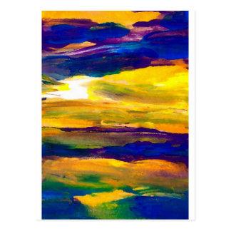 Art. van de Golven van het Zeegezicht van de Zon Briefkaart