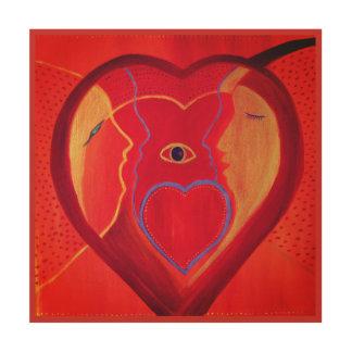Art. van de Muur van het hart het Houten Hout Afdruk