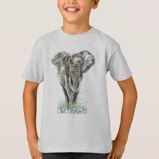 Art. van de Natuur van de Olifant van de waterverf T Shirt