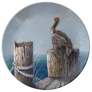 Art. van de Pelikaan van de Kust van Oregon het Porselein Bord