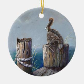 Art. van de Pelikaan van de Kust van Oregon het Rond Keramisch Ornament