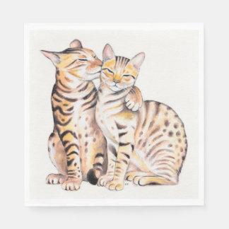 Art. van de Waterverf van twee het Leuke Katten Papieren Servetten