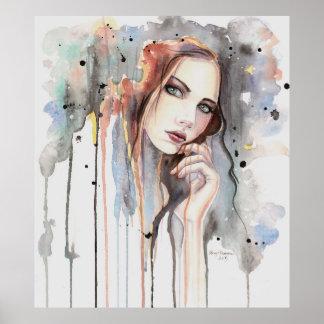 Art. van Drippy van het Portret van de Waterverf Poster