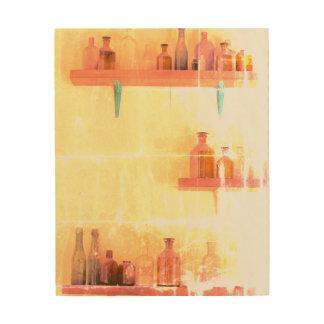 Art. van VINTAGE Muur 8 x 10 van FLESSEN het Houten Canvas Print