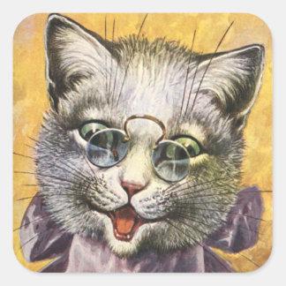 Arthur Thiele - Vrouwelijke Kat met Glazen Vierkante Sticker