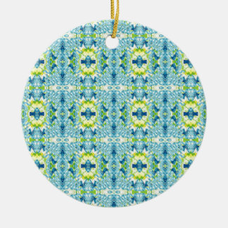 Artistiek Geometrisch Fractal van de blauwgroen Rond Keramisch Ornament