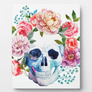 Artistieke waterverfschedel en bloemen foto platen