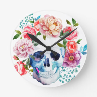 Artistieke waterverfschedel en bloemen ronde klok