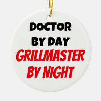 Arts tegen Dag 's nachts Grillmaster Rond Keramisch Ornament