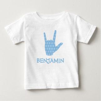 ASL de Gebarentaal I houdt van u de Blauwe Naam Baby T Shirts