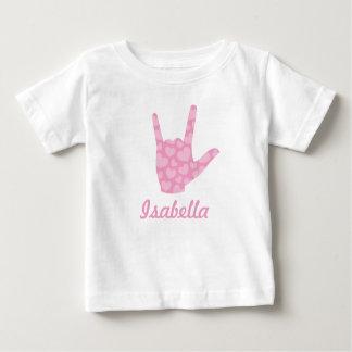 ASL de Gebarentaal I houdt van u de Roze Naam van Baby T Shirts