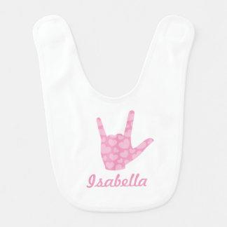 ASL I houdt van u de Slab van het Baby van de Naam Baby Slabbetje