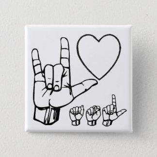 asl liefde, hart, asl vierkante button 5,1 cm