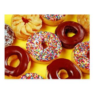 Assortiment van vers smakelijk donutsbriefkaart briefkaart