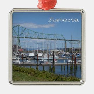 Astoria, Oregon Zilverkleurig Vierkant Ornament