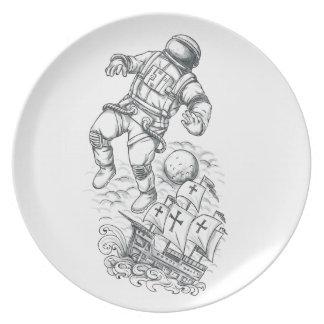 Astronaut aan Tattoo dat Caravel wordt gebonden Bord