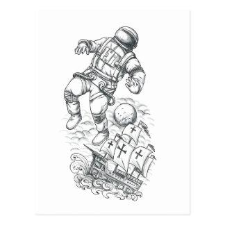 Astronaut die aan Tattoo Caravel wordt gebonden Briefkaart