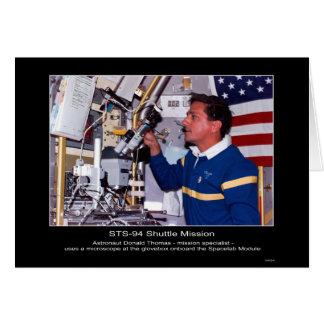 Astronaut Donald Thomas aan boord van Spacelab Briefkaarten 0