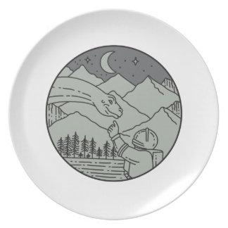 Astronaut wat betreft de MonoLijn van de Cirkel Melamine+bord