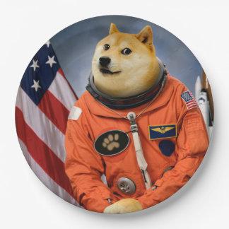 astronauten hond - doge - shibe - doge memes papieren bordje