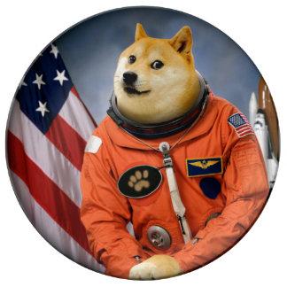 astronauten hond - doge - shibe - doge memes porselein bord