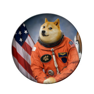 astronauten hond - doge - shibe - doge memes porseleinen bord