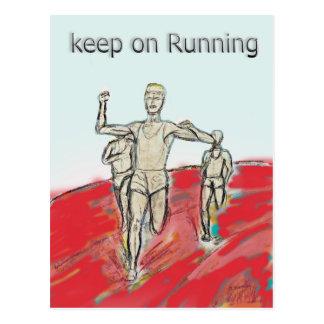 atleten, het lopen, marathonras rdesign briefkaart