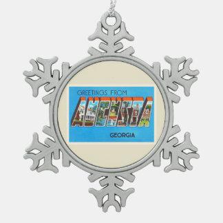 Augusta Georgië GA de Oude Vintage Prentbriefkaar Tin Sneeuwvlok Ornament