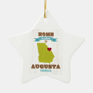 Augusta, Georgië Kaart - het Huis is waar het Hart Keramisch Ster Ornament