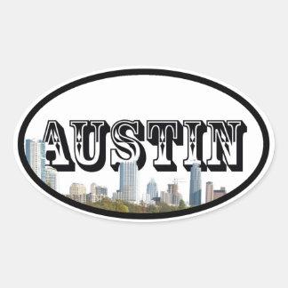 Austin, de Horizon van Texas met Austin in de Ovale Sticker