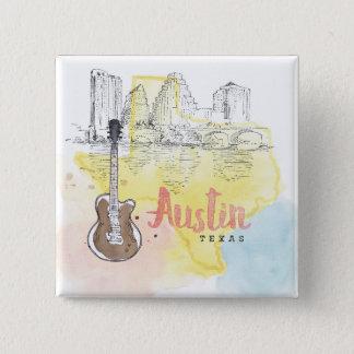 Austin, Texas | Schets van de Waterverf Vierkante Button 5,1 Cm