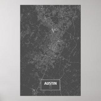 Austin, wit Texas (op zwarte) Poster