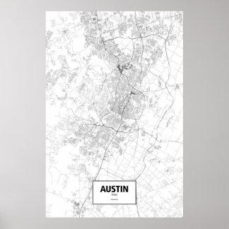 Austin, zwart Texas (op wit) Poster