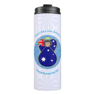 Australische Engel op Wit en Blauw Vierkant Thermosbeker