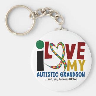 AUTISME I houdt van Mijn Autistische Kleinzoon 2 Basic Ronde Button Sleutelhanger