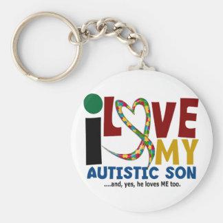 AUTISME I houdt van Mijn Autistische Zoon 2 Basic Ronde Button Sleutelhanger