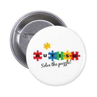 Autisme - los het raadsel op! ronde button 5,7 cm
