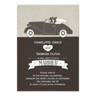 Auto Twee van het huwelijk het Lesbische Huwelijk 12,7x17,8 Uitnodiging Kaart