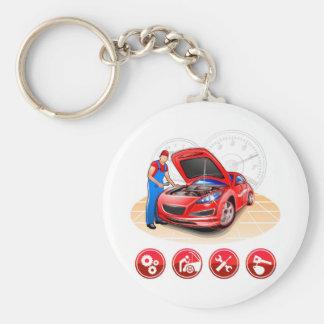 Auto werktuigkundige basic ronde button sleutelhanger