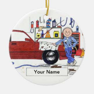 Auto Werktuigkundige - Mannetje Rond Keramisch Ornament