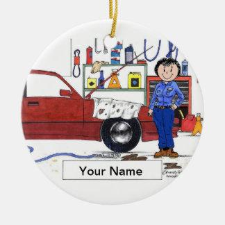 Auto Werktuigkundige - Vrouw Rond Keramisch Ornament