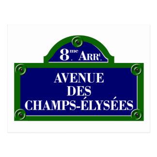 Avenue des Champs-Elysees, het Teken van de Straat Briefkaart