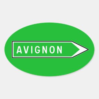 Avignon, Verkeersteken, Frankrijk Ovale Sticker