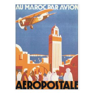 Avion van het Pari van Au Maroc het Vintage Poster Briefkaart