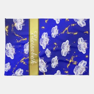Aziatische blauwe bloesemhanddoek en wit goud, theedoek