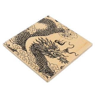 Aziatische Draak Houten Onderzetter