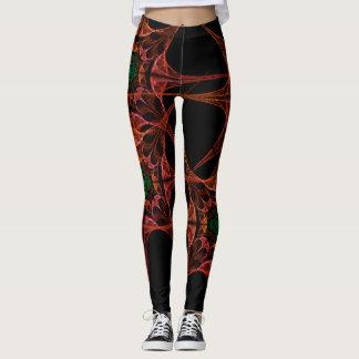Aziatische ontwerp zwarte en Rode Beenkappen Leggings